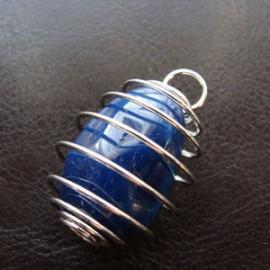 Pendentif Spirale Agate bleue