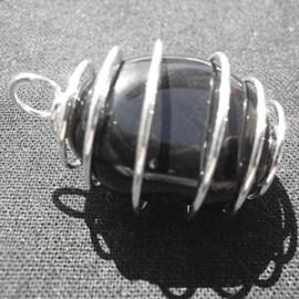 Pendentif Spirale Agate noire